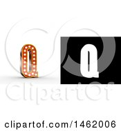 3d Illuminated Theater Styled Vintage Letter Q With Alpha Map For Isolation