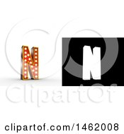 Clipart Of A 3d Illuminated Theater Styled Vintage Letter N With Alpha Map For Isolation Royalty Free Illustration