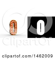 3d Illuminated Theater Styled Vintage Letter O With Alpha Map For Isolation