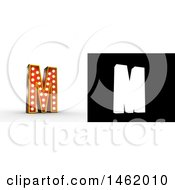 Clipart Of A 3d Illuminated Theater Styled Vintage Letter M With Alpha Map For Isolation Royalty Free Illustration