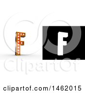Clipart Of A 3d Illuminated Theater Styled Vintage Letter F With Alpha Map For Isolation Royalty Free Illustration