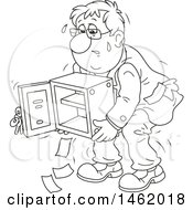 Cartoon Business Man Struggling To Carry An Empty Safe Black And White