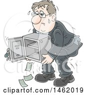 Cartoon White Business Man Struggling To Carry An Empty Safe