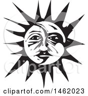 Clipart Of A Sun And Moon Face Black And White Woodcut Style Royalty Free Vector Illustration