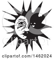 Clipart Of A Sun And Moon Face Partially In The Dark Black And White Woodcut Style Royalty Free Vector Illustration by xunantunich
