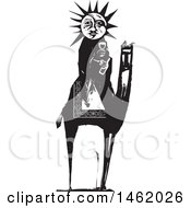 Clipart Of A Sun And Moon Headed Mother Holding Wine On A Camel Black And White Woodcut Style Royalty Free Vector Illustration by xunantunich
