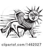 Clipart Of A Sun And Moon Headed Griffin Black And White Woodcut Style Royalty Free Vector Illustration by xunantunich