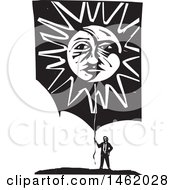Clipart Of A Man Holding A Sun And Moon Faced Balloon Black And White Woodcut Style Royalty Free Vector Illustration by xunantunich