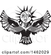 Clipart Of A Sun And Moon Headed Flying Eagle Black And White Woodcut Style Royalty Free Vector Illustration by xunantunich