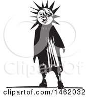 Clipart Of A Sun And Moon Headed Man Black And White Woodcut Style Royalty Free Vector Illustration by xunantunich