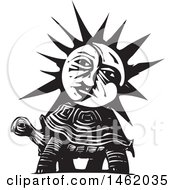 Clipart Of A Sun And Moon Face On A Tortoise Black And White Woodcut Style Royalty Free Vector Illustration by xunantunich