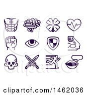 Clipart Of A Set Of Video Game Attribute Icons Royalty Free Vector Illustration