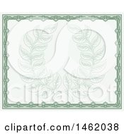 Clipart Of A Vintage Green Certificate Design With A Laurel Wreath Faded In The Center Royalty Free Vector Illustration by AtStockIllustration