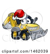 Cartoon Digger Bulldozer Mascot Wearing A Santa Hat