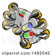 Clipart Of A Eagle Talons Or Claws Holding Out A Video Game Controller Royalty Free Vector Illustration