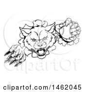 Poster, Art Print Of Black And White Tough Wolf Mascot Breaking Through A Wall And Holding A Baseball