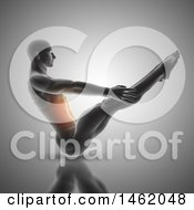 Clipart Of A 3d Medical Anatomical Male Doing V Ups With Glowing Abdomen Muscles On Gray Royalty Free Illustration