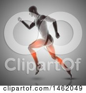 Poster, Art Print Of 3d Medical Anatomical Male With Glowing Muscles Used While Running On Gray