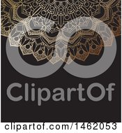 Clipart Of A Golden Ornate Mandala Design On Black Royalty Free Vector Illustration