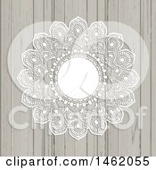 Clipart Of A White Lace Ornate Mandala Frame On Wood Royalty Free Vector Illustration