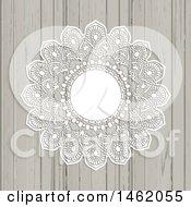 Poster, Art Print Of White Lace Ornate Mandala Frame On Wood