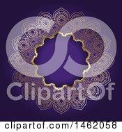Poster, Art Print Of Golden Ornate Mandala Frame On Purple