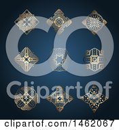 Golden Kaleidoscope Design Elements On Blue