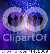 Clipart Of A Group Of Silhouetted Dancers Over A Ray Spiral And Confetti Royalty Free Vector Illustration