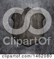 Clipart Of A 3d Wooden Shield Plaque On A Concrete Wall Royalty Free Illustration by KJ Pargeter