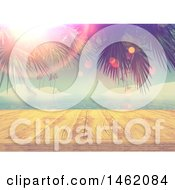 3d Wooden Dock Against A Tropical Ocean With Palm Branches And Flares