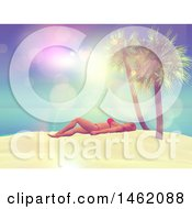 Clipart Of A 3d Woman Sun Bathing On A Tropical Beach With Flares Royalty Free Illustration