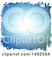 Clipart Of A Blue Sunny Sky With A Grungy White Border Royalty Free Vector Illustration