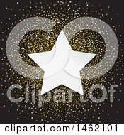 Clipart Of A White Star Frame Over Golden Glitter On Black Royalty Free Vector Illustration