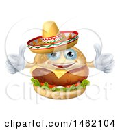 Clipart Of A Cheeseburger Mascot Wearing A Mexican Sombrero And Giving Two Thumbs Up Royalty Free Vector Illustration