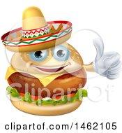 Cheeseburger Mascot Wearing A Mexican Sombrero And Giving A Thumb Up