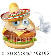 Clipart Of A Cheeseburger Mascot Wearing A Mexican Sombrero And Giving A Thumb Up Royalty Free Vector Illustration