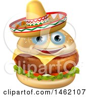Cheeseburger Mascot Wearing A Mexican Sombrero Hat