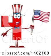 Poster, Art Print Of Patriotic Red Number Four Mascot Character Holding An American Flag