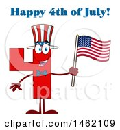 Poster, Art Print Of Patriotic Red Number Four Mascot Character Holding An American Flag Under Happy 4th Of July Text