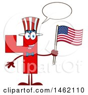 Poster, Art Print Of Patriotic Red Number Four Mascot Character Holding An American Flag And Talking