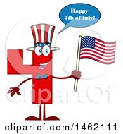 Clipart Of A Patriotic Red Number Four Mascot Character Holding An American Flag And Saying Happy 4th Of July Royalty Free Vector Illustration