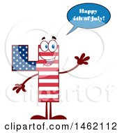 Clipart Of A Patriotic American Flag Patterned Number Four Mascot Character Saying Happy 4th Of July And Waving Royalty Free Vector Illustration