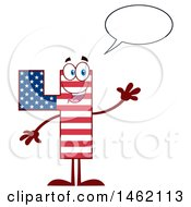 Clipart Of A Patriotic American Flag Patterned Number Four Mascot Character Talking And Waving Royalty Free Vector Illustration