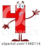 Clipart Of A Red Number Four Mascot Character Waving Royalty Free Vector Illustration by Hit Toon