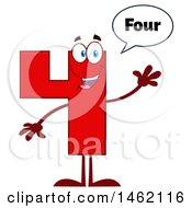 Clipart Of A Red Number 4 Mascot Character Saying Four And Waving Royalty Free Vector Illustration