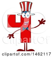 Clipart Of A Patriotic American Number Four Mascot Character Waving Royalty Free Vector Illustration by Hit Toon