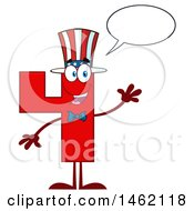 Clipart Of A Patriotic American Number Four Mascot Character Talking And Waving Royalty Free Vector Illustration by Hit Toon