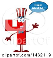 Clipart Of A Patriotic American Number Four Mascot Character Waving And Talking Royalty Free Vector Illustration