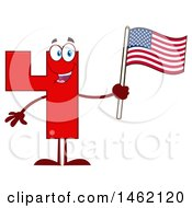 Clipart Of A Red Number Four Mascot Character Holding An American Flag Royalty Free Vector Illustration by Hit Toon