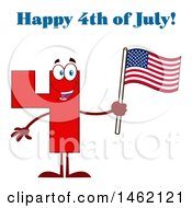 Clipart Of A Red Number Four Mascot Character Holding An American Flag Under Happy 4th Of July Text Royalty Free Vector Illustration